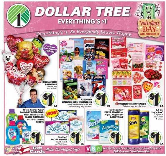 dollar tree ad valentines day valid to February 14 2018