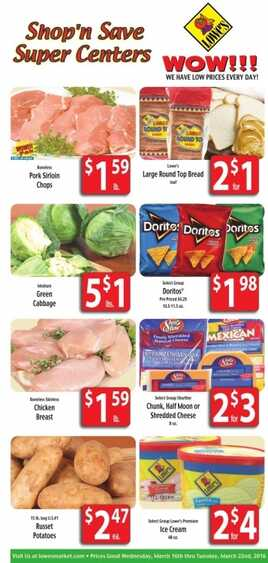 Lowes Food Weekly Specials 17 3 2016 Weekly Ads